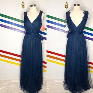 NEW Watters tulle navy blue gown